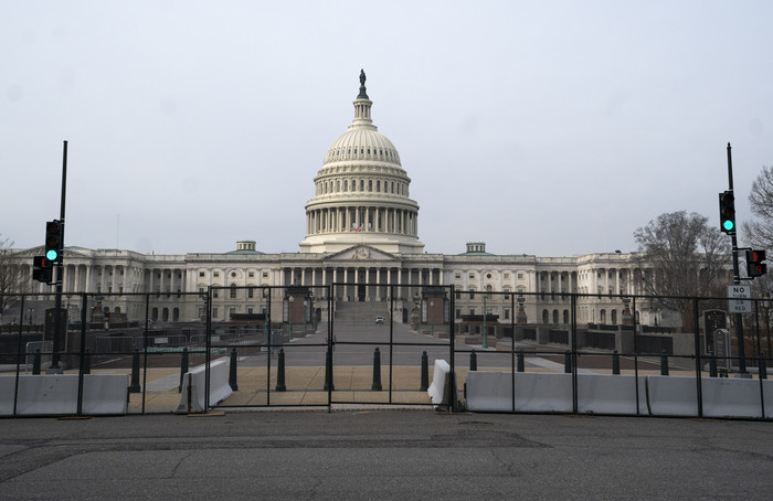 Security fencing surrounds the U.S. Capitol in Washington, D.C. (Photo: UPI-Yonhap News)