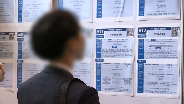 A man looks at listings for open positions on a job board. (Photo: Yonhap News)