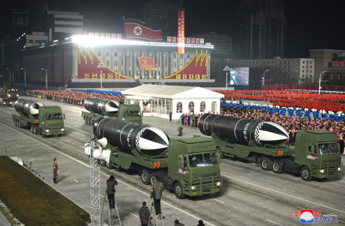 North Korea displays submarine-launched ballistic missiles during a military parade held in Pyongyang on Jan. 14, 2021. (Photo: KCNA-Yonhap News)