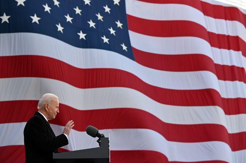 U.S. President-elect Joe Biden speaks before leaving his home in Delaware for Washington, D.C. on Jan. 19, 2021. (Photo: AFP-Yonhap News)