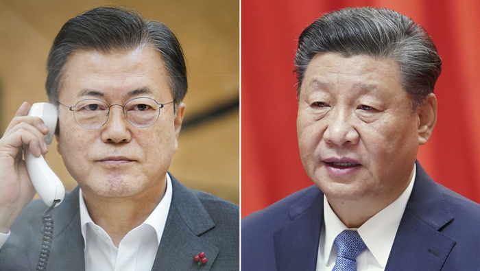 South Korean President Moon Jae-in (L) and Chinese President Xi Jinping (Photos: Yonhap News)