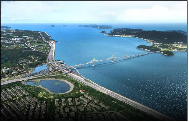 "A virtual rendering of the ""Peace Road"" connecting Incheon's Yeongjong and Sindo islands. (Image: Yonhap News)"