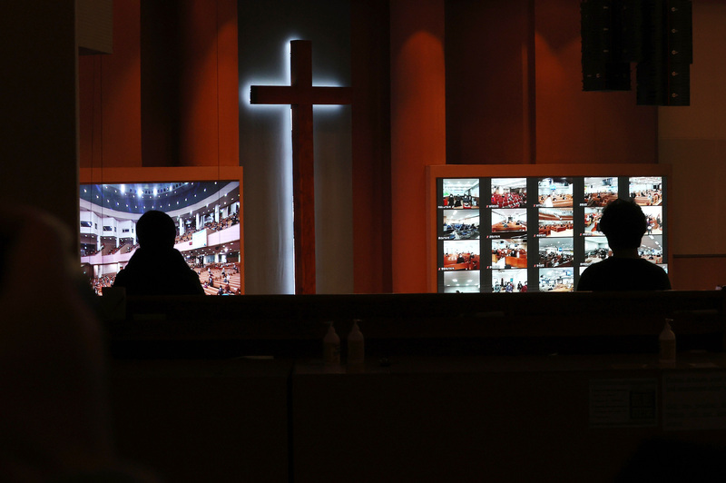 Worshippers space themselves out during a service at Yoido Full Gospel Church in Seoul on Jan. 24, 2021. (Photo: Yonhap News)