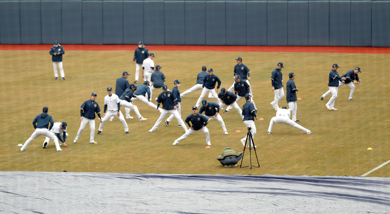 The NC Dinos warm up during spring training in Changwon on Feb. 1, 2021. (Photo: Yonhap News)