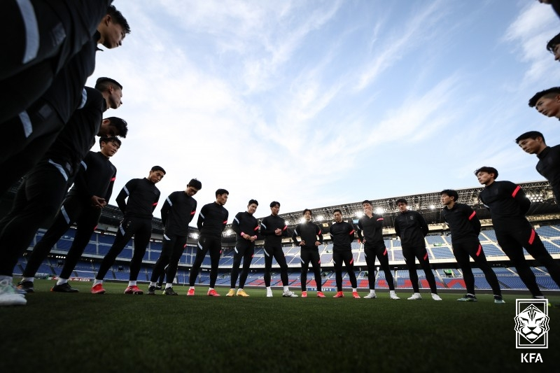 South Korea's men's national football team gears up for a friendly with Japan. (Photo: Yonhap News)