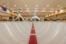 South Korean fencers practice for the upcoming Tokyo Olympics on April 14, 2021. (Photo: Yonhap News)