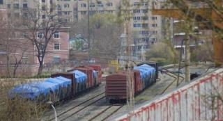 A cargo train is seen at a train station in Dandong, in the Liaoning Province of China, bordering Sinuiju in North Pyongan Province, North Korea.