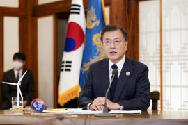 Moon speaks (Photo: Yonhap News)