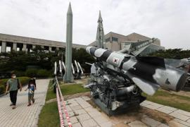 The photo shows a model of a South Korean missile at the War Memorial in Seoul. (Photo: Yonhap News)