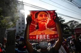 Protester Free Aung San Suu Kyi Yangon AP