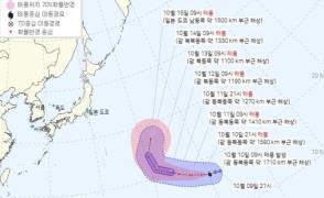 제19호 태풍 ''남테운(NAMTHEUN)'' 예상 이동 경로