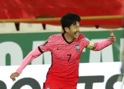 Son Heung-min celebrates after netting a goal against Iran