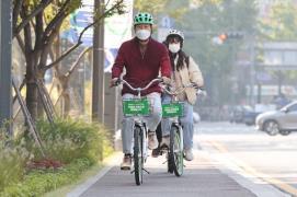 Seoul Mayor Oh rides a Ddareungi