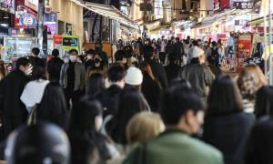 Young people flock to Hongdae on Monday as governmet announces living with covid plan